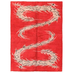 Antique Indian Dragon Design Rug. Size: 6 ft x 7 ft 10 in (1.83 m x 2.39 m)