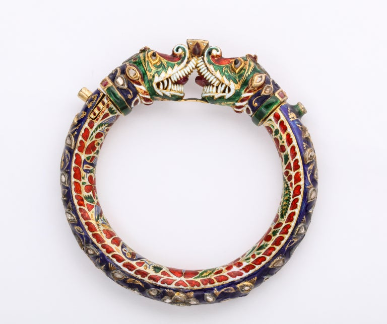 Rose Cut Antique Indian Enamel Bangle