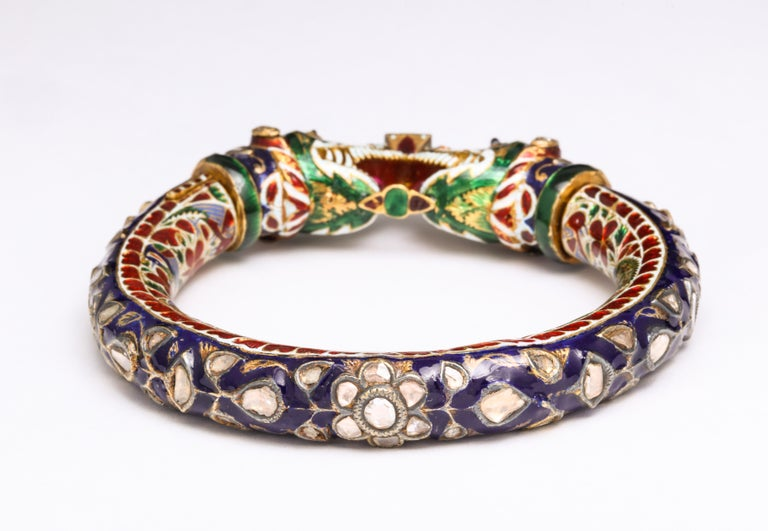 Women's or Men's Antique Indian Enamel Bangle