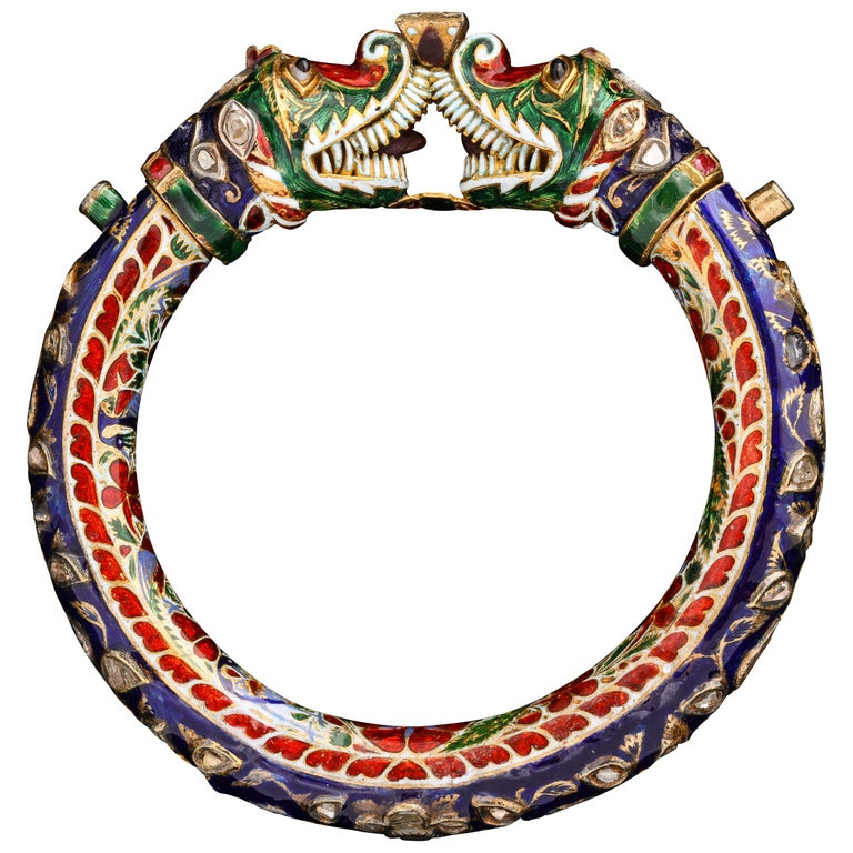 Enamel bangle, ca. 1850, offered by Joseph Saidian and Sons