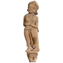 Antique Indian Gujarat Hand Carved Temple Carving Statue Depicting a Woman