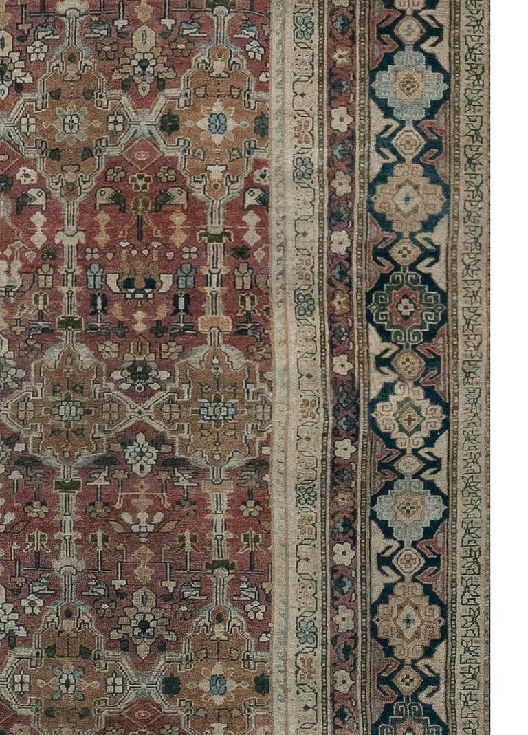 Hand-Knotted Antique Indian Hand Knotted Cotton Carpet For Sale