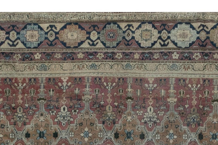 Antique Indian Hand Knotted Cotton Carpet In Good Condition For Sale In New York, NY
