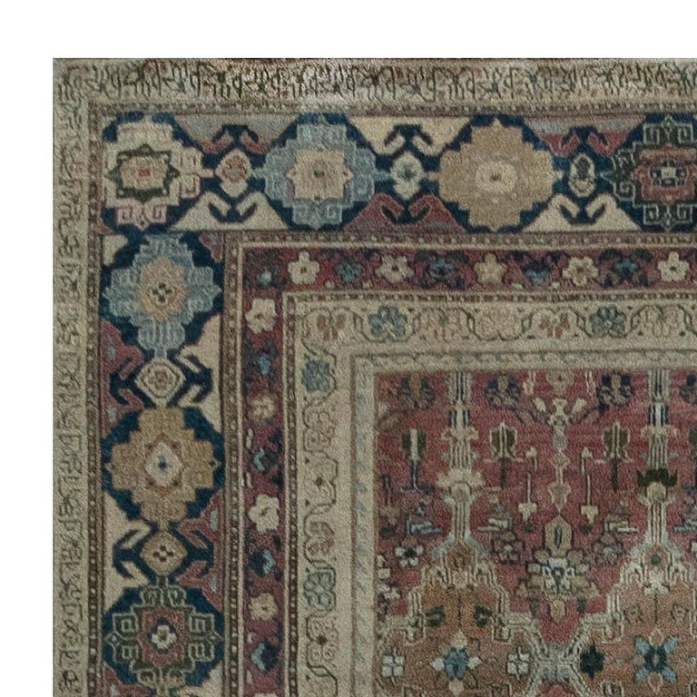 20th Century Antique Indian Hand Knotted Cotton Carpet For Sale