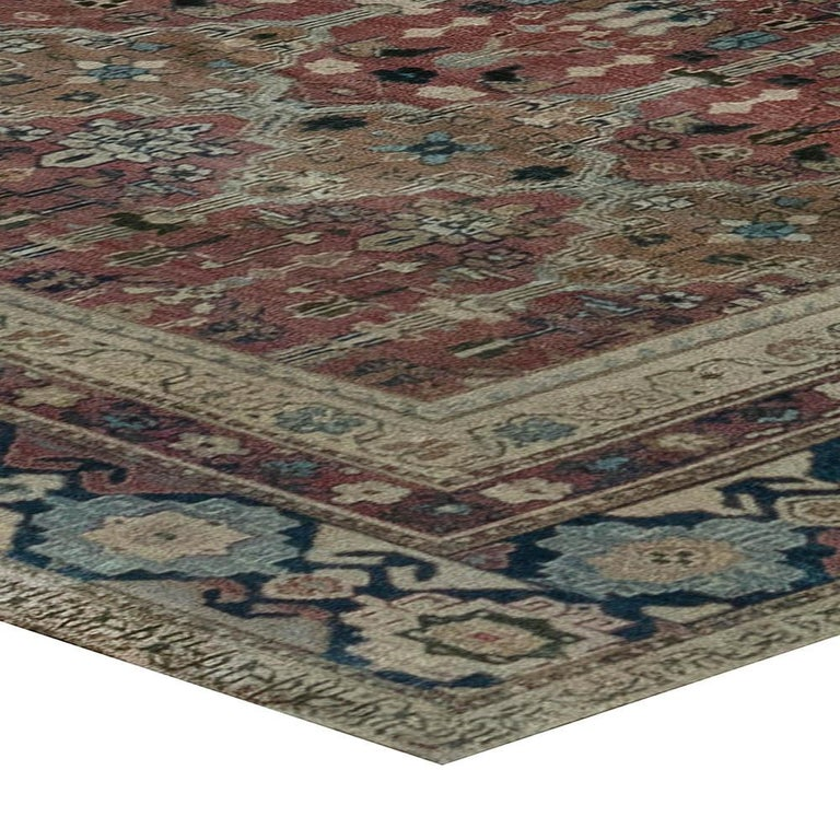 Wool Antique Indian Hand Knotted Cotton Carpet For Sale