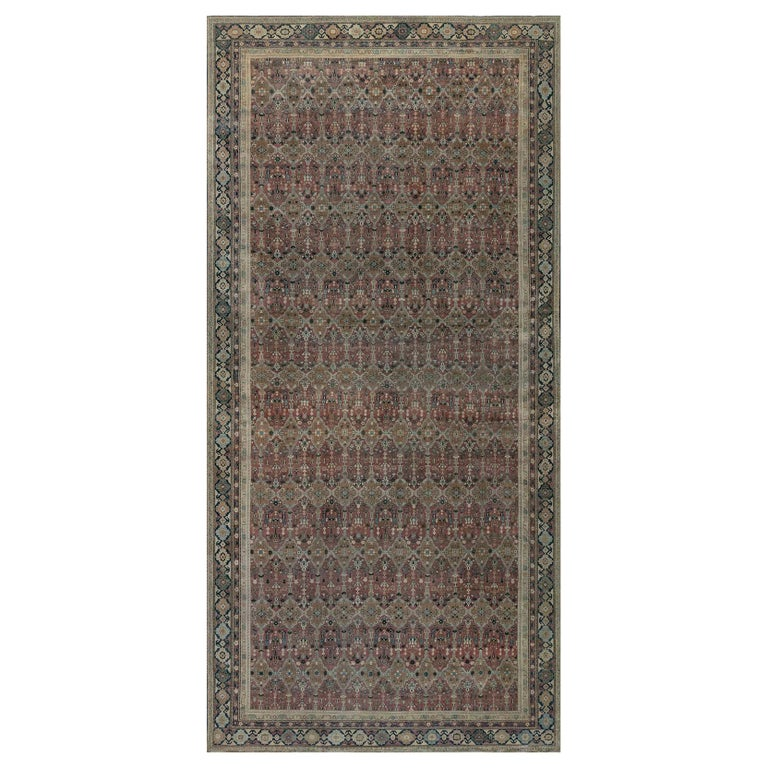 Antique Indian Hand Knotted Cotton Carpet For Sale
