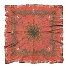 Antique Indian Handmade Paisley Textile Shawl with Brilliant Colors