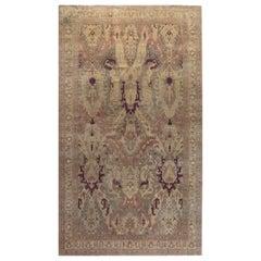 Antique Indian Handwoven Wool Carpet