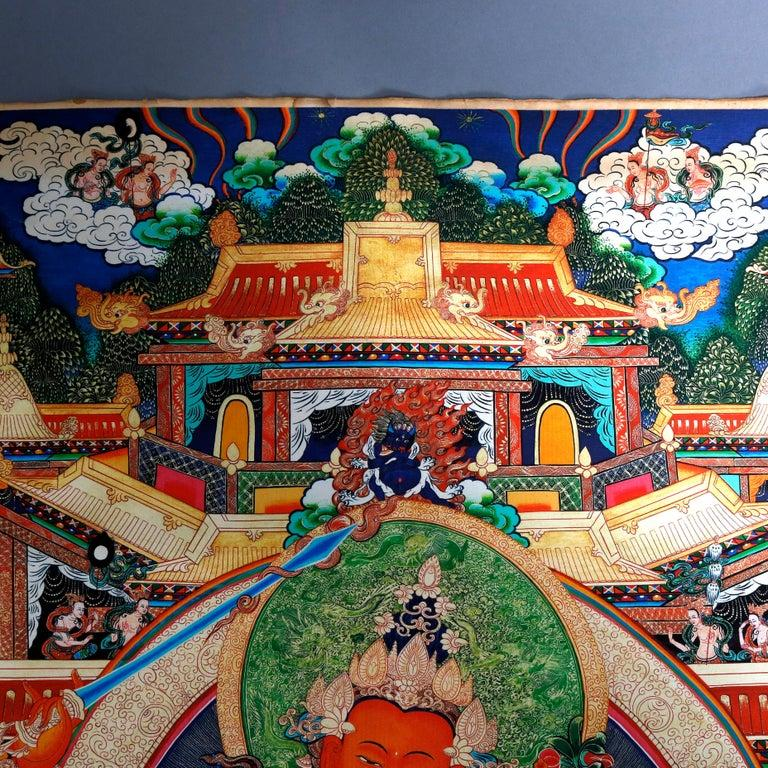 Tibetan Antique Indian Hindu Shiva Thangka Watercolor, 19th Century For Sale