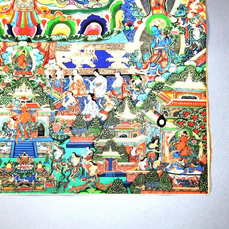 Antique Indian Hindu Shiva Thangka Watercolor, 19th Century In Good Condition For Sale In Big Flats, NY