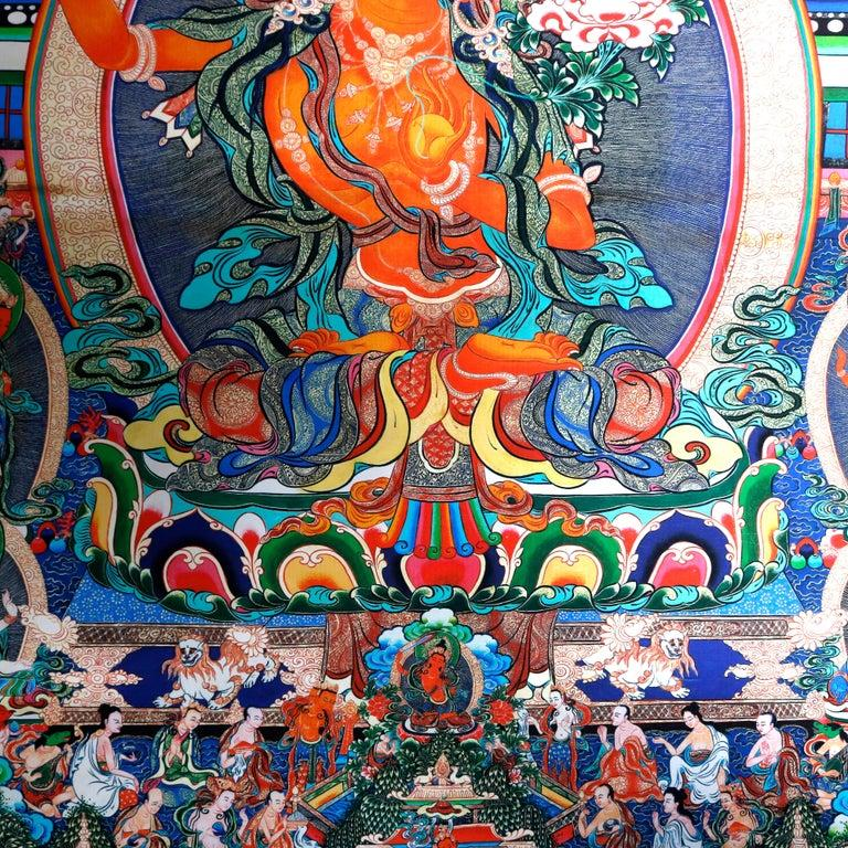 Paper Antique Indian Hindu Shiva Thangka Watercolor, 19th Century For Sale