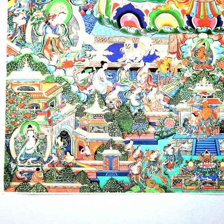 Antique Indian Hindu Shiva Thangka Watercolor, 19th Century For Sale 1