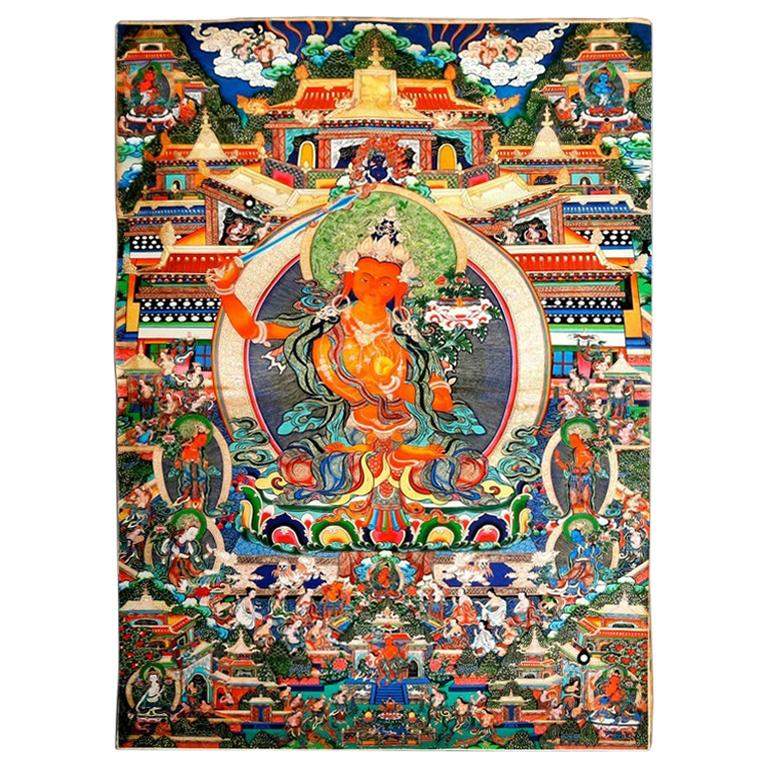 Antique Indian Hindu Shiva Thangka Watercolor, 19th Century For Sale