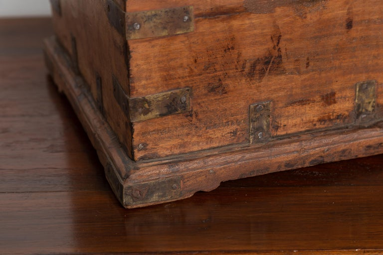 Antique Indian Jewelry Box with Brass Braces, Drop Front and Hidden Drawers 7