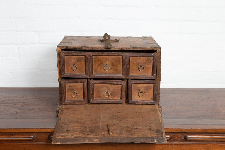 Antique Indian Jewelry Box with Brass Braces, Drop Front and Hidden Drawers In Good Condition In Yonkers, NY