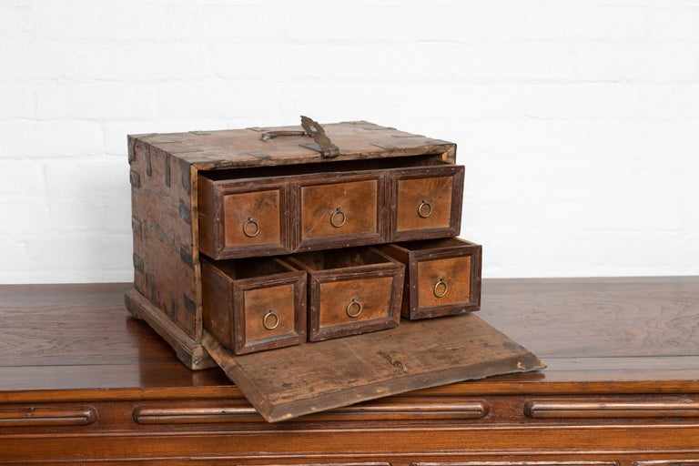 19th Century Antique Indian Jewelry Box with Brass Braces, Drop Front and Hidden Drawers