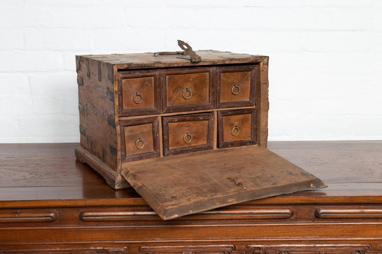 Wood Antique Indian Jewelry Box with Brass Braces, Drop Front and Hidden Drawers