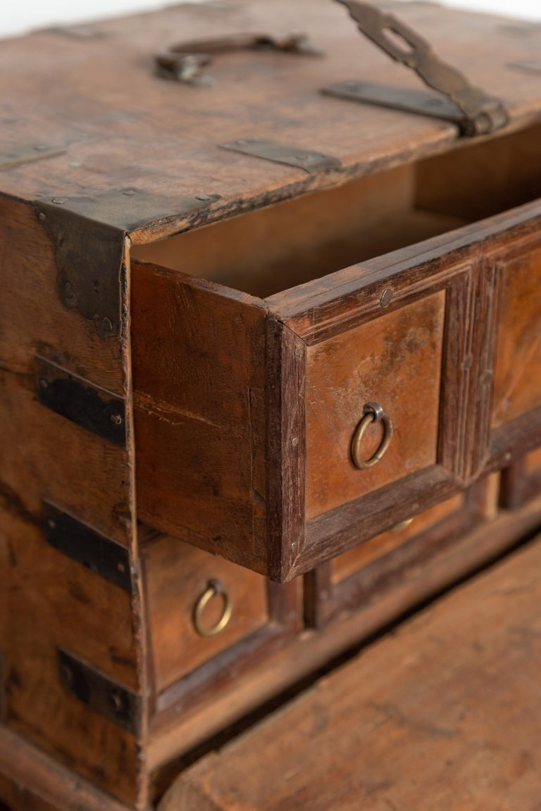 Antique Indian Jewelry Box with Brass Braces, Drop Front and Hidden Drawers 1