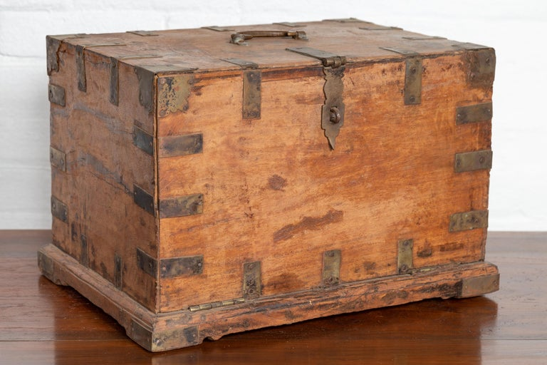 Antique Indian Jewelry Box with Brass Braces, Drop Front and Hidden Drawers 2