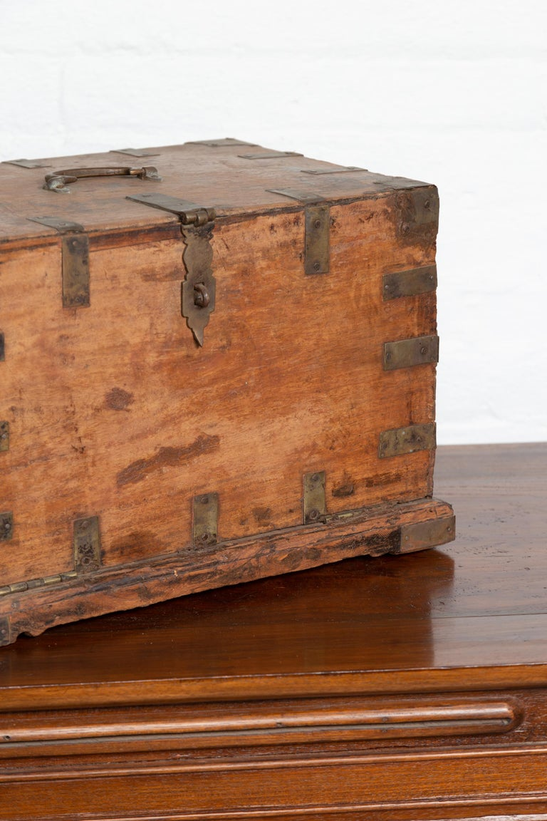 Antique Indian Jewelry Box with Brass Braces, Drop Front and Hidden Drawers 4