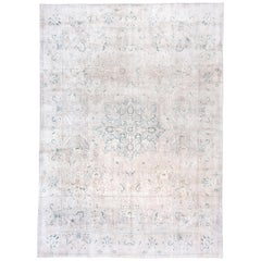 Antique Indian Kashmir Rug, Silver and Gray Field, Dark Green Accents