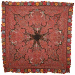 Antique Indian Kashmir Shawl, 1860s-1880s