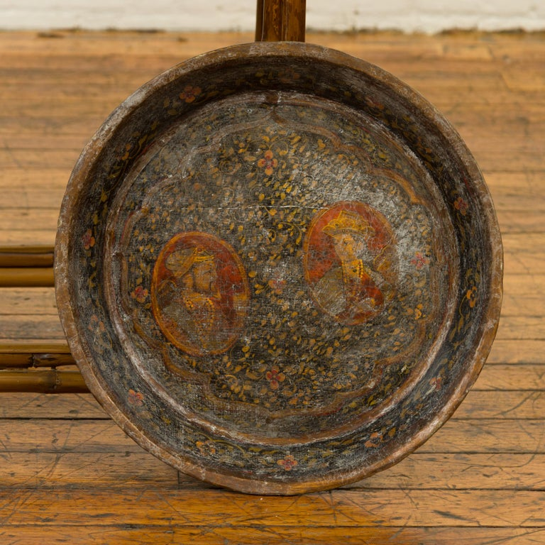 Antique Indian Market Tray with Mughal Inspired Hand Painted Decor For Sale 5