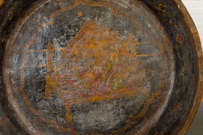 19th Century Antique Indian Market Tray with Mughal Inspired Hand Painted Decor For Sale