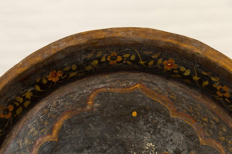 Antique Indian Market Tray with Mughal Inspired Hand Painted Décor For Sale 3