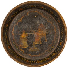 Antique Indian Market Tray with Mughal Inspired Hand Painted Décor