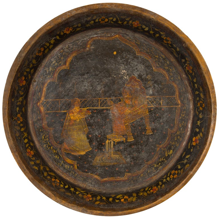 Antique Indian Market Tray with Mughal Inspired Hand Painted Décor For Sale