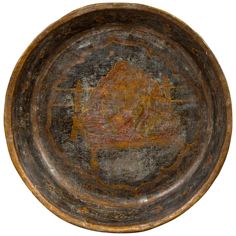 Antique Indian Market Tray with Mughal Inspired Hand Painted Decor For Sale