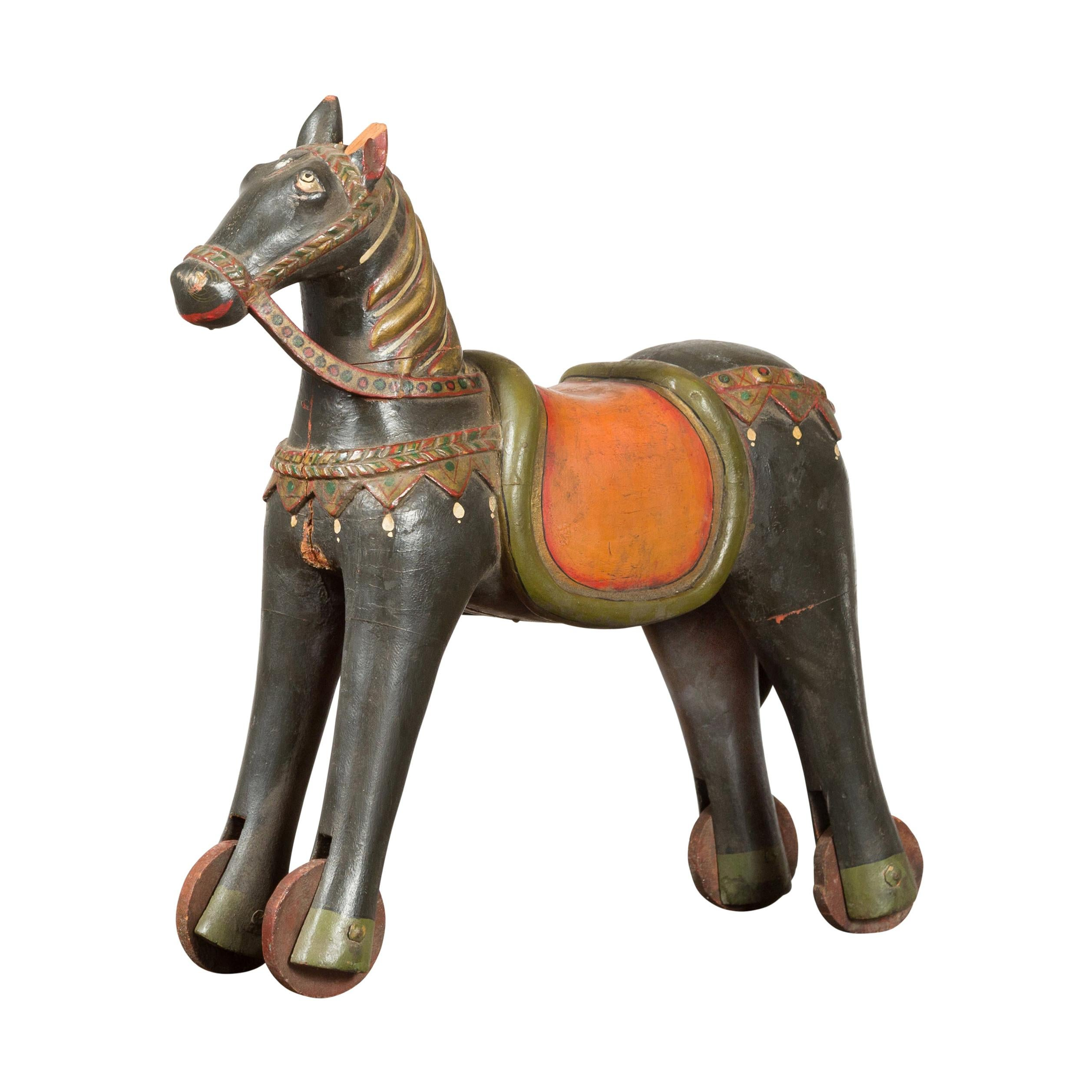 Antique Indian Mughal Horse on Wheels Sculpture with Polychrome Finish