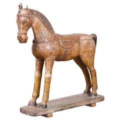 Antique Indian Multicolor Hand-Carved Wooden Mogul Horse on Rectangular Base