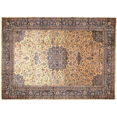 Antique Indian Oriental Rug w/ Persian Kashan Design, w/ Medallion & Soft Colors