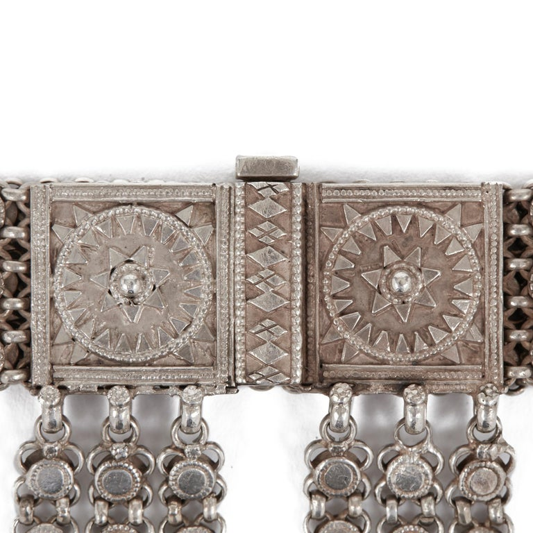 Antique Indian Ornate Silver Metal Belt, 19th-20th Century For Sale 2