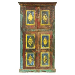 Antique Indian Painted Teak Tall Cabinet