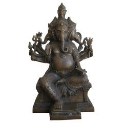 Antique Indian Panchmukhi Lord Ganesha Ganesh India Bronze Statue Sculpture