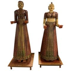 Antique Indian Rajasthani Figures a Pair