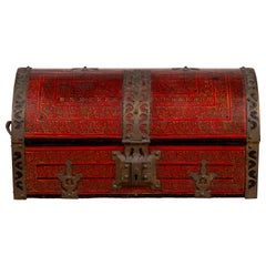 Antique Indian Red Lacquered Dowry Box from Rajasthan with Pierced Brass Braces