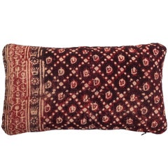Antique Indian Resist Dyed Pillow