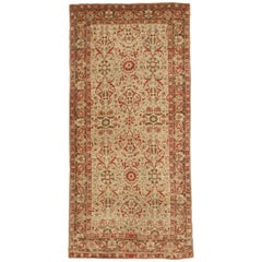 Antique Indian Rug Agra Design with Striking Floral Patterns, circa 1940s