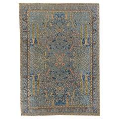 Authentic Indian Blue Garden Design Handmade Wool Rug