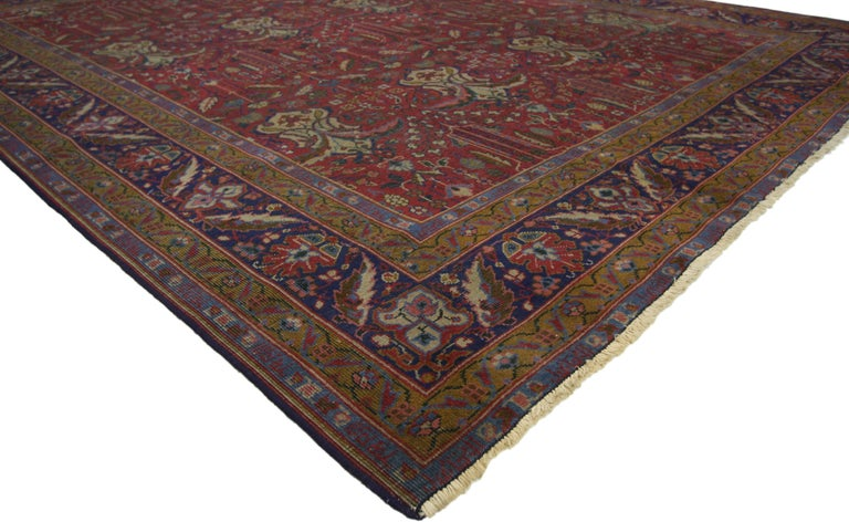 Hand-Knotted Antique Indian Rug with Traditional Victorian Style and Mughal Design For Sale