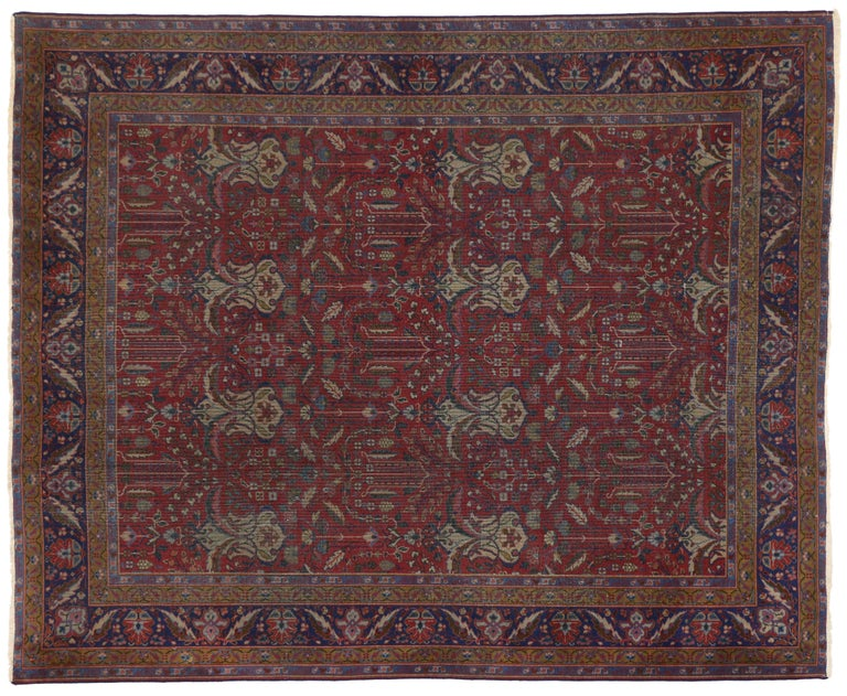 20th Century Antique Indian Rug with Traditional Victorian Style and Mughal Design For Sale