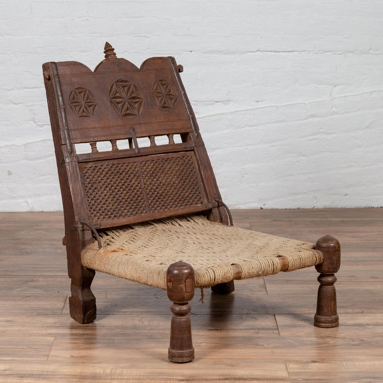 Stupendous Antique Indian Rustic Low Seat Wooden Chair With Carved Rosettes And Twine Seat Cjindustries Chair Design For Home Cjindustriesco