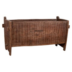 Antique Indian Rustic Wooden Planter Box with Weathered Patina and Chiseled Body