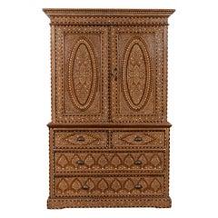 Antique Indian Sheesham and Bone Inlaid Wardrobe Cabinet with Ebonized Accents