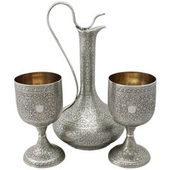 Antique Indian Silver Claret Jug and Matching Goblets