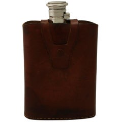 Antique Indian Silver Hip Flask with Leather Case